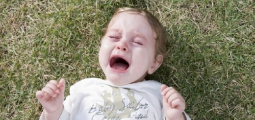 Child Crying and Lying on Grass
