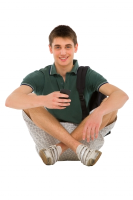 Teenage Student Holding Smartphone