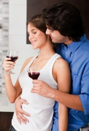 Couple Enjoying Alcohol While Children are Home