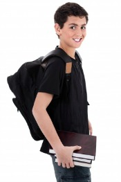 Boy Carrying Backpack Properly