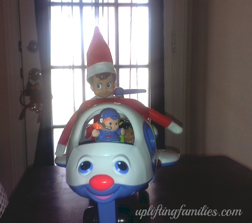 Rascal Elf on the Shelf Riding in Airplane