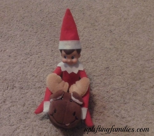 Rascal Elf on the Shelf Riding on Moose