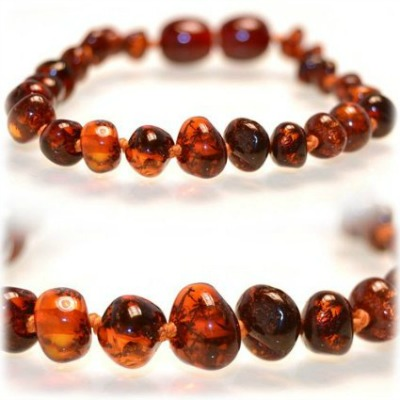 SAFETY KNOTTED Honey - Certified Baltic Amber Baby Teething Necklace