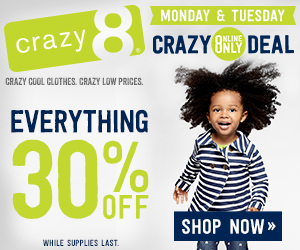 Crazy 8 Flash Sale 30 percent off coupon