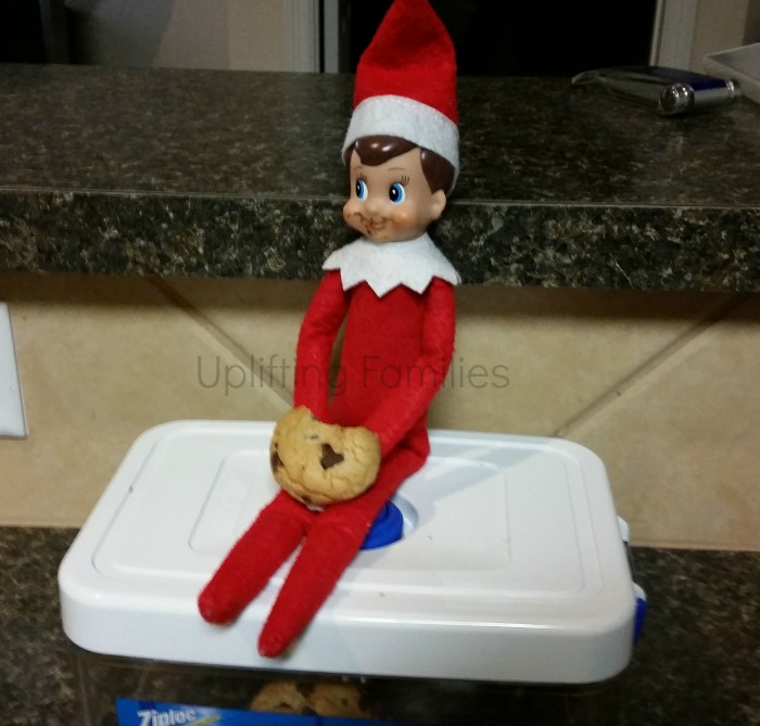 Rascal enjoys a chocolate chip cookie elfontheshelf for Elf on the shelf pooping on cookies