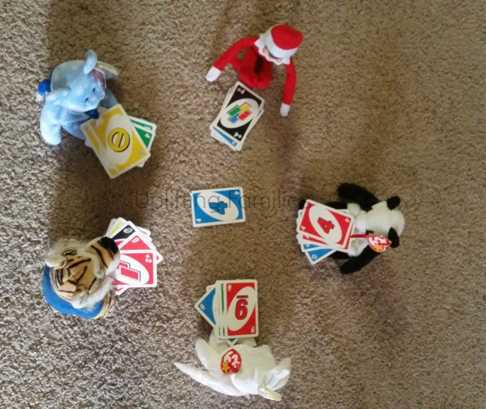 Elf on the Shelf Ideas Playing Uno