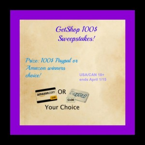 100 Giveaway via Amazon or Paypal