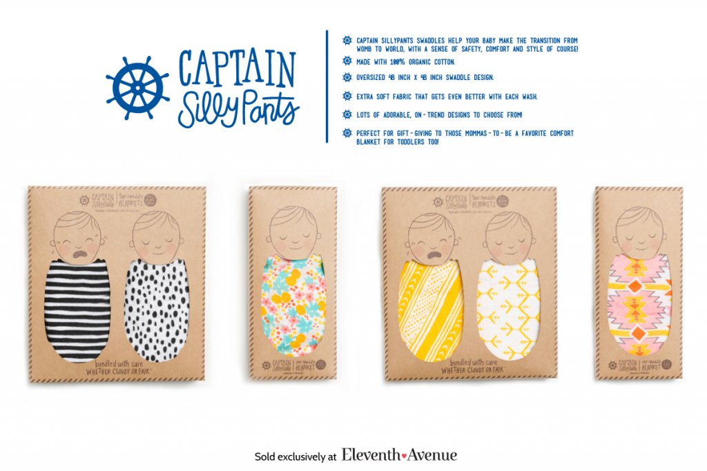 Captain Silly Pants Swaddle Blankets