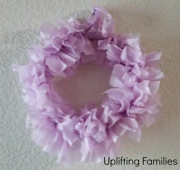 DIY Wreath Using Poise Pad wrappers