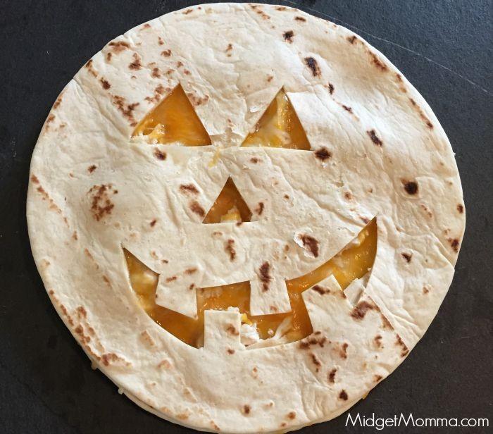 Easy jack-o-lantern quesadilla
